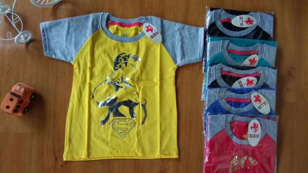 Baju anak laki laki kaos CHARIOT (umur 6m-4th) body of superman lengan abu abu