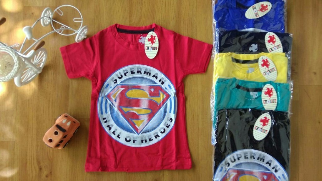 Baju anak laki laki kaos CHARIOT (umur 5th-7th) Superman hall of heroes