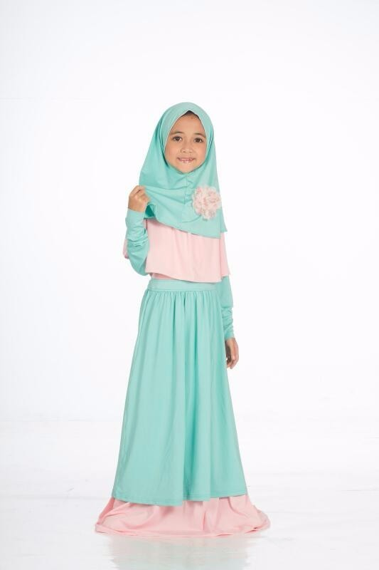Baju anak perempuan gamis FER&REI pink tosca include kerudung